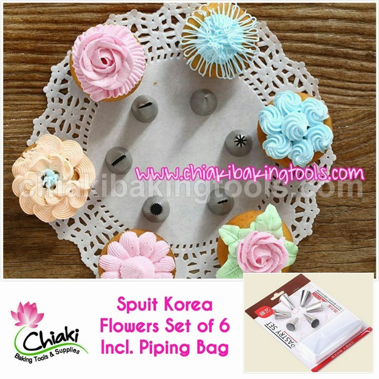 Spuit Korean Flowers Set of 6 Include Piping Bag